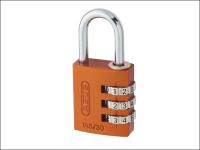 ABUS 145/30 30mm Aluminium Combination Padlock Orange 46579