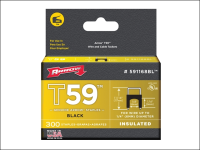 Arrow T59 Insulated Staples Black 6 x 6mm Box 300