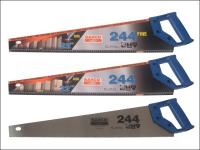 Bahco 244 x 2 Hardpoint Handsaw 550mm 22in + 1 x 244/22 Fine Cut