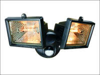Byron ES120/2 Twin Halogen Floodlights with Motion Detector Black 150 Watt