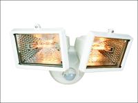 Byron ES120/2W Twin Halogen Floodlight with Motion Detector White 150 Watt