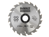 DEWALT DT1148 Construction Circular Saw Blade 184 x 30mm x 18 Tooth Series 30