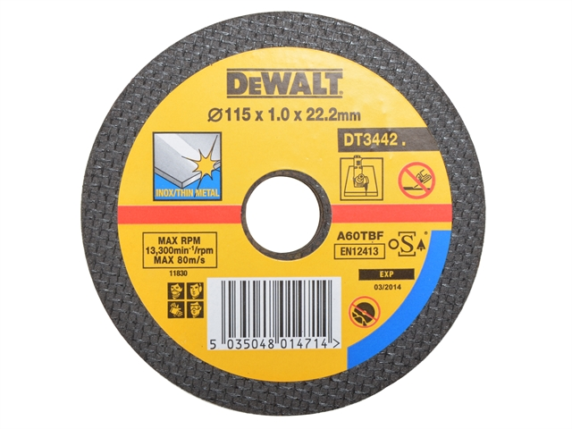 DEWALT Bonded Discs In Tin 115mm x 1mm x 22.2mm (Pack of 10)