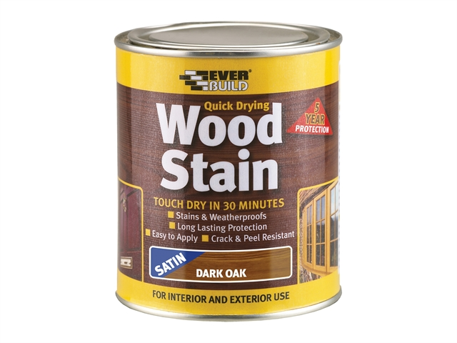 Everbuild Quick Dry Wood Stain Satin Dark Oak 750ml