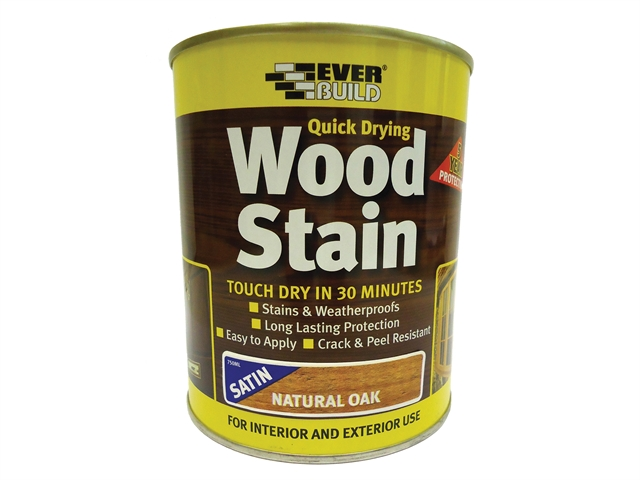 Everbuild Quick Dry Wood Stain Satin Natural Oak 250ml