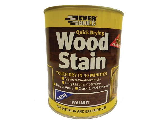 Everbuild Quick Dry Wood Stain Satin Walnut 750ml