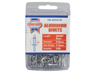Faithfull Aluminium Rivets 3.2mm x 6mm Short Pre-Pack of 100