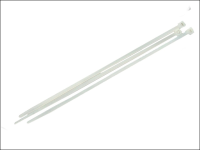 Faithfull Cable Ties White 250mm X 4.8mm Pack of 100