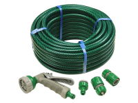 Faithfull PVC Reinforced Hose 15 Metre Fittings & Spray Gun