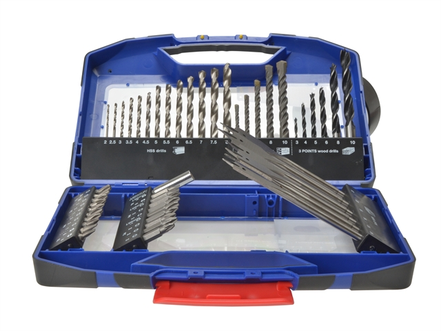 Faithfull MPSET Set of 50 Drill Bits for HSS, Wood, Masonry & Screwdriver Bits