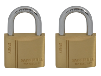 Faithfull Brass Padlock Keyed Alike 2 x 40mm