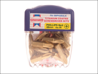 Faithfull Phillips No.2 Titanium Screwdriver Bits x 25mm (Pack of 25)
