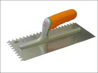 Faithfull Adhesive Trowel Serrated Edge 8mm Soft Grip Handle 11 x 4.3/4 in
