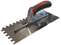 Faithfull Notched Trowel Serrated 10mm Stainless Steel Soft Grip Handle 13 x 4.1/2in