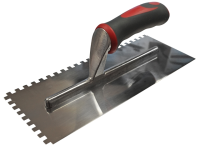 Faithfull Notched Trowel Serrated 6mm Stainless Steel Soft Grip Handle 11 x 4.1/2in