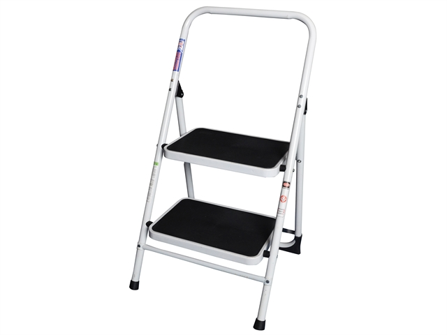 Faithfull Folding Steel 2-Step Ladder with Guard Rail
