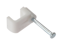 Forgefix Cable Clip Flat White 1.00mm Box 100