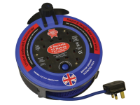 Faithfull Power Plus Pro Cable Reel 240V 10 Metre 10A 4 Socket Cut Out