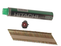Hitachi 3.1 x 75mm Bright Ring Clipped Head Nail & Fuel (2200)