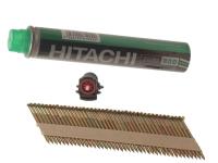 Hitachi 3.1 x 75mm Bright Ring Clipped Head Nail & Fuel (2200)