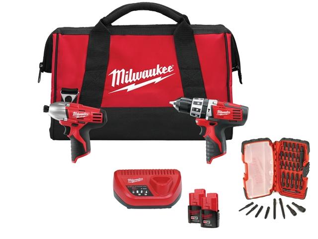 Milwaukee M12 RED Twin Pack With 30-Piece Bit Set 12 Volt 2 x 2.0Ah Li-Ion 12V