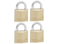 Master Lock Solid Brass 30mm Padlock 4 Pin - Keyed Alike x 4