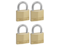 Master Lock Solid Brass 40mm Padlock 4 Pin - Keyed Alike x 4
