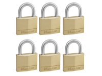 Master Lock Solid Brass 40mm Padlock 4 Pin - Keyed Alike x 6