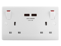 Masterplug 2 Gang Switched Socket Outlet + USB Charger 13 Amp