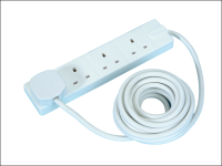 Masterplug Extension Lead 240 Volt 4 Gang 13 Amp White 5 Metre 240V