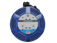 Masterplug Cassette Cable Reel 12 Metre 4 Socket Thermal Cut-Out Blue 13A 240 Volt 240V