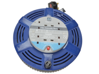Masterplug Cassette Cable Reel 15 Metre 4 Socket Thermal Cut-Out Blue 10A 240 Volt 240V