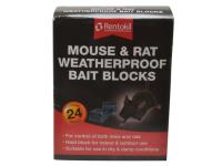 Rentokil Mouse & Rat Weatherproof Bait Blocks (Pack of 24)