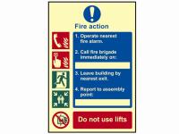 Scan Fire Action Procedure - Photoluminescent 200 x 300mm