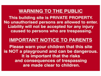 Scan Building Site Warning To Public And Parents - PVC 600 x 400mm