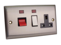 SMJ Switched Cooker Control Unit Neon 45A 1 Gang Brushed Steel