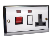 SMJ Switched Cooker Control Unit Neon 45A 1 Gang Chrome