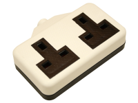 SMJ White Rubber Trailing Socket 2 Gang