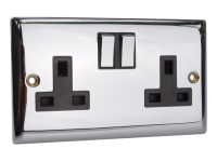 SMJ Switched Socket 2-Gang 13A Chrome