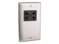SMJ Dual Voltage Shaver Socket Brushed Steel