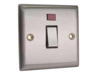 SMJ DP Neon Switch 20A Brushed Steel