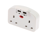 SMJ European To Twin UK Adaptor With USB Ports