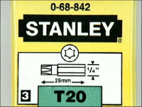 Stanley Tools Torx T20 Insert Bits 25 mm (Set of 3)