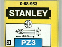 Stanley Tools Pozidriv 3pt Bit 25mm (Set of 3)