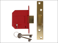 UNION StrongBOLT 2100S BS 5 Lever Mortice Deadlock 81mm 3in Satin Brass Box