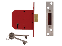 UNION 2101 5 Lever Mortice Deadlock Satin Brass Finish 77.5mm 3in Box