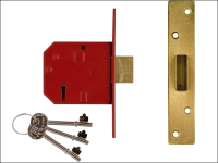 UNION 2134E 5 Lever BS Mortice Deadlock Satin Brass Finish 79.5mm 3in Box