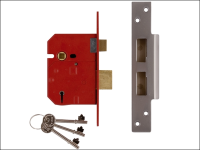 UNION 2234E 5 Lever BS Mortice Sashlock Plated Brass Finish 79.5mm 3in Box