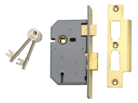 UNION 2277 3 Lever Mortice Sashlock Polished Brass 65mm 2.5in Box