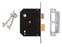 UNION 2295 2 Lever Mortice Sashlock Chrome Finish 63mm 2.5in Box